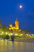 San Barthomieu i Santa Tecla church. Beach. At night. The coast walk. Sitges, Catalonia, Spain