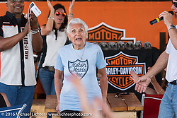 90 year old Harley riding Motor Maid Gloria Struck gets introduced during the Harley-Davidson Editors Choice bike show at the Broken Spoke Saloon. Daytona Bike Week 75th Anniversary event. FL, USA. Wednesday March 9, 2016.  Photography ©2016 Michael Lichter.