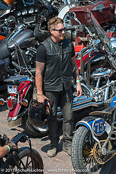 Roland Sands before the start of the Legends Ride from Deadwood during the 75th Annual Sturgis Black Hills Motorcycle Rally.  SD, USA.  August 3, 2015.  Photography ©2015 Michael Lichter.