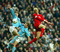 Liverpool's Sami Hyypia wins a header from two Sunderland players during the Premiership match at Anfield, Liverpool, Sunday, November 17th, 2002. <br /><br />Pic by David Rawcliffe/Propaganda<br /><br />Any problems call David Rawcliffe on +44(0)7973 14 2020 or email david@propaganda-photo.com - http://www.propaganda-photo.com