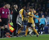 Alex Oxlade-Chamberlain of Arsenal is replaced by Alex Iwobi of Arsenal during the English Premier League match at Goodison Park Stadium, Liverpool. Picture date: December 13th, 2016. Pic Simon Bellis/Sportimage