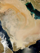 A dense wall of dust barrelled across the Arabian Peninsula on March 26-27, 2011. The massive storm stretches more than 500 kilometres (300 miles) across the peninsula, covering parts of Saudi Arabia, Yemen, Oman, and the United Arab Emirates.