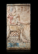Ancient Egyptian stele of Piamon who drowned in the Nile and was deified like Osiris, Ptlomemaic Period (332-30 BC),  Egyptian Museum, Turin. black background. Old Fund cat 1556. .<br /> <br /> If you prefer to buy from our ALAMY PHOTO LIBRARY  Collection visit : https://www.alamy.com/portfolio/paul-williams-funkystock/ancient-egyptian-art-artefacts.html  . Type -   Turin   - into the LOWER SEARCH WITHIN GALLERY box. Refine search by adding background colour, subject etc<br /> <br /> Visit our ANCIENT WORLD PHOTO COLLECTIONS for more photos to download or buy as wall art prints https://funkystock.photoshelter.com/gallery-collection/Ancient-World-Art-Antiquities-Historic-Sites-Pictures-Images-of/C00006u26yqSkDOM