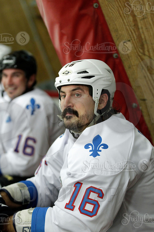14 December 2012: George Parros.   NHLPA players skated in a Charity Game at The Rinks -Anaheim Ice benefiting the Jr. Ducks Pee Wee AAA team and The Children's Hospital of Orange County.  The players skated 4 on 4 with a standing room only capacity of fans with over 500 tickets sold. The White team won the game 10-6 in a Ducks vs Kings lineup.  The NHL is in its 92nd day of locking out their players.