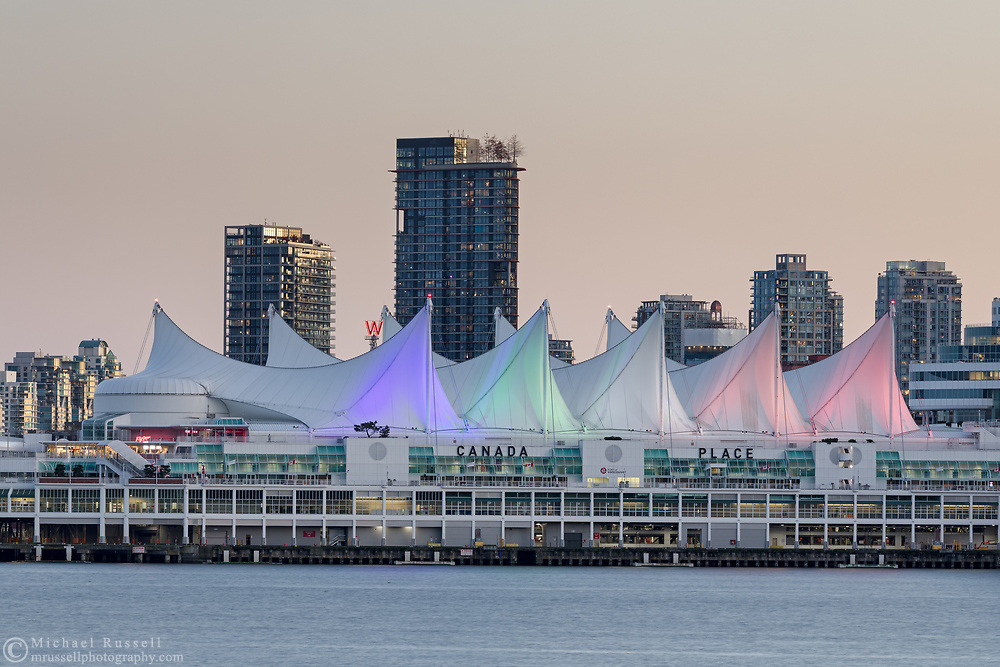 A view of Canada Place in the early evening from Stanley Park in Vancouver, British Columbia, Canada.
