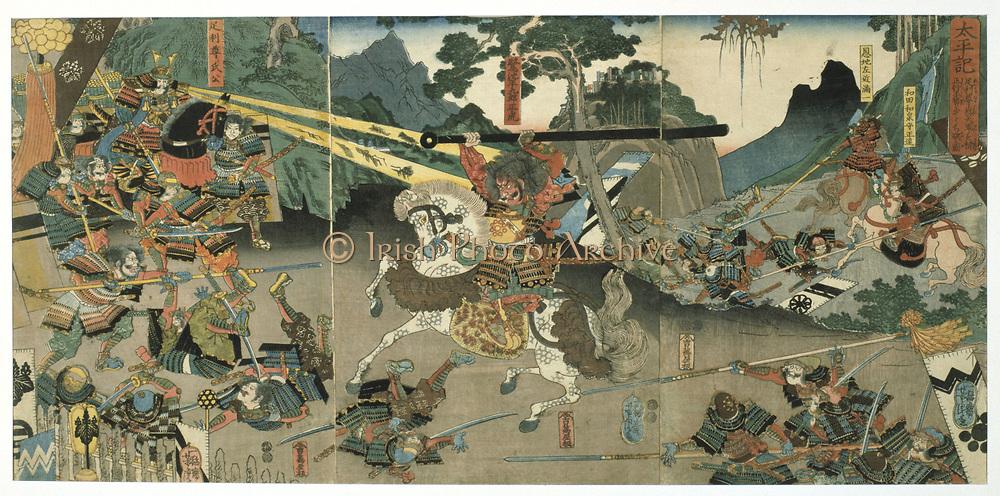 Battle scene from the series 'The Forty-seven Faithful Samurai'.  Coloured woodblock print, late 1840's.  Utagawa Yoshitora (active 1850-1880) Japanese artist and printmaker..