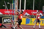 Super 8 athletics at the Cardiff International Stadium on Wed 10th June 2009. Chris Hughff of Sheffield competes in the men's javelin event.
