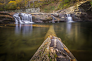 A fallen tree spans the length of the swimming hole below the low flowing Glade Creek Falls of the New River Gorge in the midst of a very dry autumn.