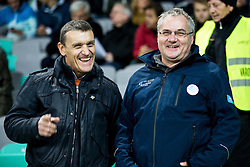 Stanislav Pinter and Boro Strumbelj ahead to the football match between National teams of Slovenia and England in Round #3 of FIFA World Cup Russia 2018 Qualifier Group F, on October 11, 2016 in SRC Stozice, Ljubljana, Slovenia. Photo by Vid Ponikvar / Sportida