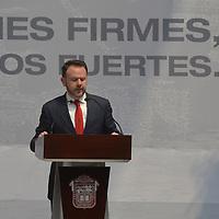 Toluca, México.- (Marzo 15, 2018).- Francisco Guzmán Ortiz, Jefe de la Oficina de la Presidencia y Secretario Ejecutivo del Consejo Nacional de la Agenda 2030 para el Desarrollo Sostenible durante la presentación del Plan de Desarrollo del Estado de México 2017-2023. Agencia MVT / Crisanta Espinosa.