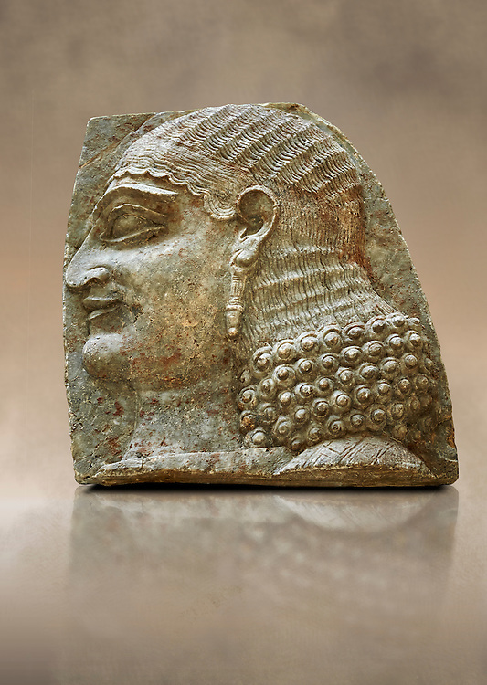 Stone relief sculptured panel of a Servant. From the facade of the throne room,  Inv AO 22196 from Dur Sharrukin the palace of Assyrian king Sargon II at Khorsabad, 713-706 BC.  Louvre Museum Room 4 , Paris