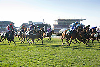 National Hunt Horse Racing - 2017 Randox Grand National Festival - Saturday, Day Three [Grand National Day]<br /> <br /> Derek Fox on One For Arthur winner of   the 5.15, the Randox Health Grand National to the extreme right of the field at the start of the race at Aintree Racecourse.<br /> <br /> COLORSPORT/WINSTON BYNORTH<br /> <br /> <br /> <br /> <br /> <br /> <br /> <br /> <br /> <br /> <br /> National Hunt Horse Racing - 2017 Randox Grand National Festival - Saturday, Day Three [Grand National Day]<br /> <br />  in the 1st race the 1.45 Gaskells Handicap Hurdle at Aintree Racecourse.<br /> <br /> COLORSPORT/WINSTON BYNORTH