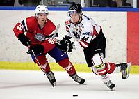Ishockey<br /> Treningskamp<br /> Østerrike v Norge<br /> 09.04.2010<br /> Foto: Gepa/Digitalsport<br /> NORWAY ONLY<br /> <br /> Laenderspiel, Norwegen vs Oesterreich, Vorbereitungsspiel. Bild zeigt Mathis Olimb (NOR) und Mickey Elick (AUT).