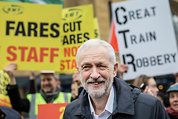 © Licensed to London News Pictures. 02/01/2019. London, UK. Labour Party Leader Jeremy Corbyn joins protesters at King's Cross as passengers begin a 'national day of action' over 3. 1% fare increases. Photo credit: Rob Pinney/LNP