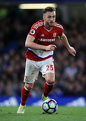 """Middlesbrough's Calum Chambers during the Premier League match at Stamford Bridge, London. PRESS ASSOCIATION Photo. Picture date: Monday May 8, 2017. See PA story SOCCER Chelsea. Photo credit should read: Mike Egerton/PA Wire. RESTRICTIONS: EDITORIAL USE ONLY No use with unauthorised audio, video, data, fixture lists, club/league logos or """"live"""" services. Online in-match use limited to 75 images, no video emulation. No use in betting, games or single club/league/player publications."""