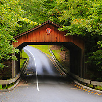 """""""Pierce Stocking Covered Bridge""""<br /> <br /> Beautiful early autumn in a light rain, at the covered bridge on Pierce Stocking Scenic Drive!"""