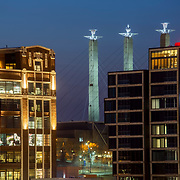 Kansas City Crossroads District Dusk including new Reverb KC building at right