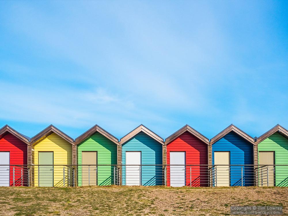 Colourful Beach Huts At Blyth, Northumberland