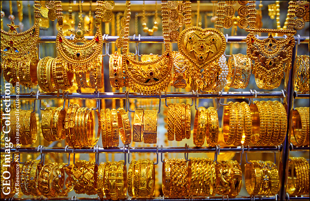 Bangles and necklaces designed to appeal to both Arab and Indian buyers are on display at the Dubai Gold Souk, the most-visited traditional market in the historic business district of Deira.