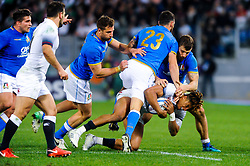 Anthony Watson of England is tackled by Jayden Hayward of Italy - CFPfoto/JMP - 04/02/2018 - RUGBY UNION - Rome, Italy - Stadio Olimpico - Italy v England - 2018 NatWest 6 Nations Championship.
