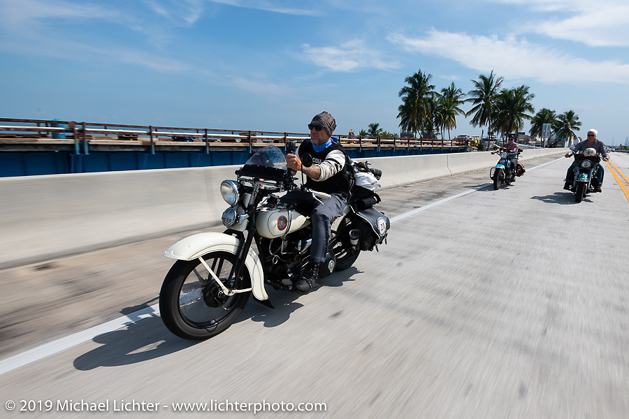 Tom Banks riding his 1936 Harley-Davidson VLH Flathead during the Cross Country Chase motorcycle endurance run from Sault Sainte Marie, MI to Key West, FL. (for vintage bikes from 1930-1948). Stage-10 covered 110 miles from Miami to the finish in Key West, FL USA. Sunday, September 15, 2019. Photography ©2019 Michael Lichter.