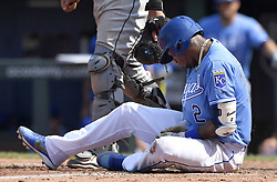 July 23, 2017 - Kansas City, MO, USA - Kansas City Royals' Alcides Escobar holds his hand after being hit on a pitch from Chicago White Sox relief pitcher Gregory Infante in the ninth inning on Sunday, July 23, 2017 at Kauffman Stadium in Kansas City, Mo. (Credit Image: © John Sleezer/TNS via ZUMA Wire)