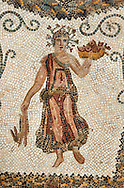 Picture of a Roman mosaics design depicting the Abduction of Ganymede, from the ancient Roman city of Thysdrus. End od 2nd century AD, Sollertiana Domus. El Djem Archaeological Museum, El Djem, Tunisia. .<br /> <br /> If you prefer to buy from our ALAMY PHOTO LIBRARY Collection visit : https://www.alamy.com/portfolio/paul-williams-funkystock/roman-mosaic.html . Type - El Djem - into the LOWER SEARCH WITHIN GALLERY box. Refine search by adding background colour, place, museum etc<br /> <br /> Visit our ROMAN MOSAIC PHOTO COLLECTIONS for more photos to download as wall art prints https://funkystock.photoshelter.com/gallery-collection/Roman-Mosaics-Art-Pictures-Images/C0000LcfNel7FpLI