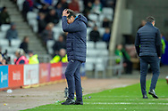 Luton Town interim manager, Mick Harford turns away with his head in his hands during the EFL Sky Bet League 1 match between Sunderland AFC and Luton Town at the Stadium Of Light, Sunderland, England on 12 January 2019.