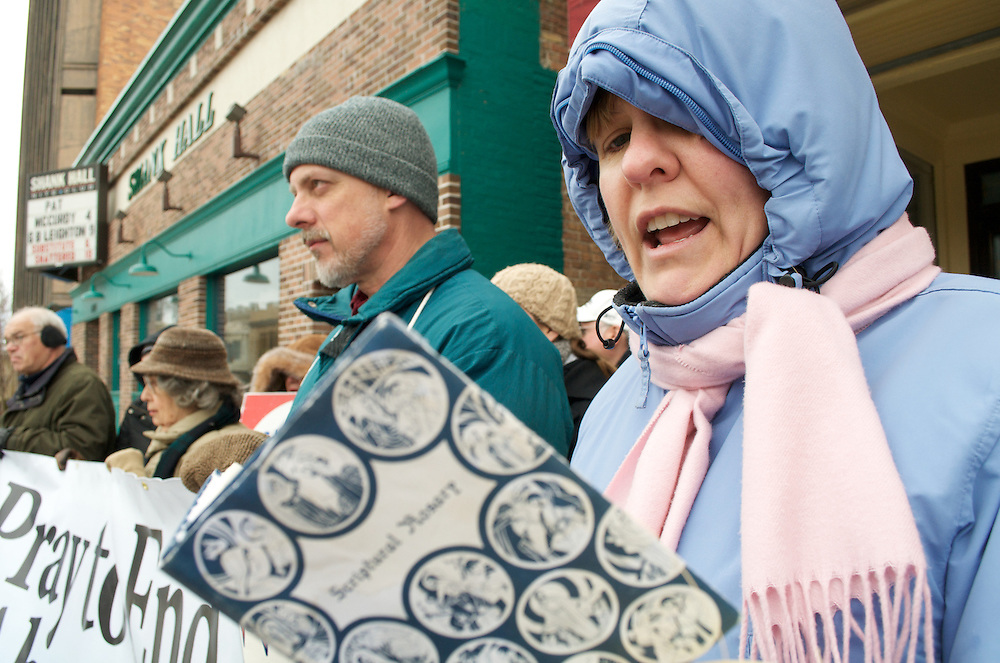 Karry Lawlor leads the pro-life group in praying the rosary outside Affiliated Medical Services on Palm Sunday April 5 2009.  This group is part of 40 Days for Life, a nation wide pro-life campaign.