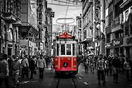 Historic tram at Istiklal Caddesi