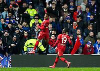 Football - 2019 / 2020 UEFA Europa League - Round of Sixteen, First Leg: Rangers vs. Bayer 04 Leverkusen<br /> <br /> Leon Bailey of Bayer Leverkusen celebrate making it 3-1, at Ibrox Stadium, Glasgow.<br /> <br /> COLORSPORT/BRUCE WHITE