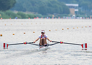 Poznan, POLAND, 21.06.19,  Friday,  CAN LW1X, Jill MOFFATT, at the start, orld Rowing Cup II, Malta Lake Course, © Peter SPURRIER/Inter, sport Images, <br /> <br /> 09:46:32