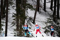 February 22, 2019 - Seefeld In Tirol, AUSTRIA - 190222 Antoine Gerard of France, Jarl Magnus Riiber of Norway and Yoshito Watabe of Japan competes in men's nordic combined 10 km Individual Gundersen during the FIS Nordic World Ski Championships on February 22, 2019 in Seefeld in Tirol..Photo: Vegard Wivestad Grøtt / BILDBYRÃ…N / kod VG / 170288 (Credit Image: © Vegard Wivestad GrØTt/Bildbyran via ZUMA Press)