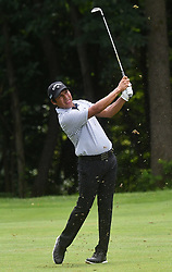 July 15, 2018 - Silvis, Illinois, U.S. - SILVIS, IL - JULY 15:  Andres Romero reacts after hitting his second shot other #6 hole during the final round of the John Deere Classic on July 15, 2018, at TPC Deere Run, Silvis, IL.  (Photo by Keith Gillett/Icon Sportswire) (Credit Image: © Keith Gillett/Icon SMI via ZUMA Press)