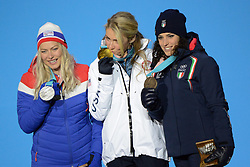 February 15, 2018 - Pyeongchang, South Korea - RAGNHILD MOWINCKEL of Norway (left) , MIKAELA SHIFFRIN of the United States (center) and FEDERICA BRIGNONE of Italy with their medals from the Ladies' Giant Slalom event in the PyeongChang Olympic games. (Credit Image: © Christopher Levy via ZUMA Wire)