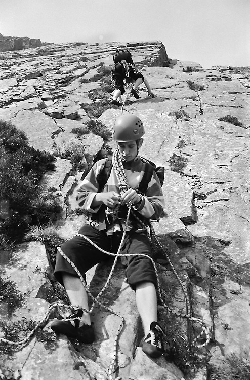 Setting off on the climb Hawkwind on Atlantic Slabs in the Ogwen Valley, North Wales