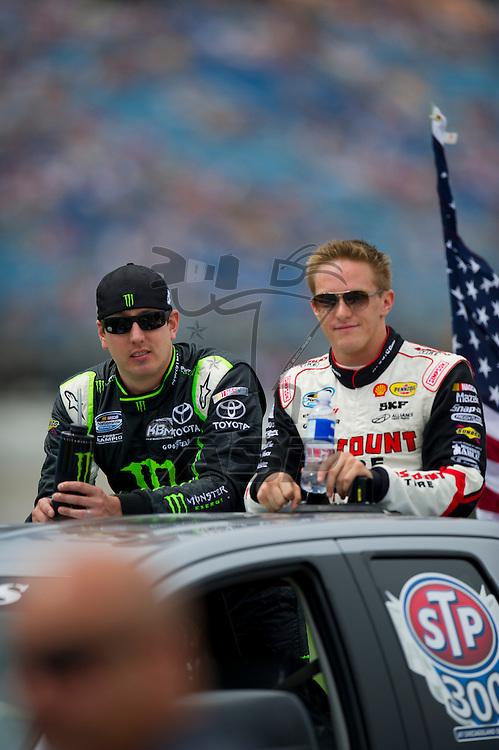 Joliet,Il - JUL 21, 2012: Kyle Busch (54) and Parker Kligerman (22) during the STP 300 at Chicagoland Speedway in Joliet, Il.