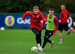CARDIFF, WALES - Sunday, October 14, 2018: Wales' David Brooks (L) and Ben Woodburn during a training session at the Vale Resort ahead of the UEFA Nations League Group Stage League B Group 4 match between Republic of Ireland and Wales. (Pic by David Rawcliffe/Propaganda)