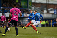 Portsmouth Midfielder, Ronan Curtis (11) with a shot at goal during the The FA Cup fourth round match between Portsmouth and Queens Park Rangers at Fratton Park, Portsmouth, England on 26 January 2019.