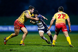 Bristol Rugby Fly-Half Matthew Morgan is tackled by Scarlets XV Flanker Stuart Worrall - Mandatory byline: Rogan Thomson/JMP - 17/01/2016 - RUGBY UNION - Clifton Rugby Club - Bristol, England - Scarlets Premiership Select XV v Bristol Rugby - B&I Cup.