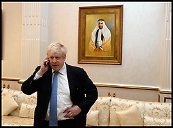 The London Mayor Boris Johnson meets the Crown Prince of Adu Dhabi. The Mayor is on a 2 day tour of the UAE, Monday April 15, 2013. Photo By Andrew Parsons / i-Images