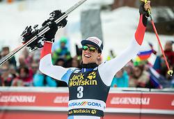 Winner ZENHAEUSERN Ramon of Switzerland  celebrates after the Audi FIS Alpine Ski World Cup Men's Slalom 58th Vitranc Cup 2019 on March 10, 2019 in Podkoren, Kranjska Gora, Slovenia. Photo by Matic Ritonja / Sportida