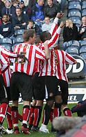 Photo: Mark Stephenson.<br />West Bromwich Albion v Sunderland. Coca Cola Championship. 03/03/2007. Sunderland's Stern John (R) celebrates his goal with his team mates