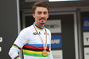 Podium Julian Alaphilippe of France, winner during the 2020 UCI World Road Championships, Men Elite Road Race, on September 27, 2020 at Autodromo Enzo and Dino Ferrari in Imola, Italy - Photo Laurent Lairys / ProSportsImages / DPPI