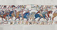 Bayeux Tapestry scene 55:  Duke William raises his visor to show that a rumour he was killed is un-true. BYX55 .<br /> <br /> If you prefer you can also buy from our ALAMY PHOTO LIBRARY  Collection visit : https://www.alamy.com/portfolio/paul-williams-funkystock/bayeux-tapestry-medieval-art.html  if you know the scene number you want enter BXY followed bt the scene no into the SEARCH WITHIN GALLERY box  i.e BYX 22 for scene 22)<br /> <br />  Visit our MEDIEVAL ART PHOTO COLLECTIONS for more   photos  to download or buy as prints https://funkystock.photoshelter.com/gallery-collection/Medieval-Middle-Ages-Art-Artefacts-Antiquities-Pictures-Images-of/C0000YpKXiAHnG2k