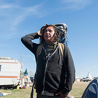 Shay Tsosie hitchhiked from Shiprock and arrived in the Standing Rock pipeline protest in North Dakota Monday with a group lead by Kern Collymore.