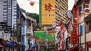 Shops and hanging lanterns in Chinatown, Singapore, Republic of Singapore