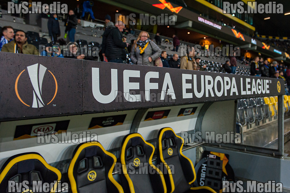 BERN, SWITZERLAND - NOVEMBER 28: Feature image of UEFA Europa League logo during the UEFA Europa League group G match between BSC Young Boys and FC Porto at Stade de Suisse, Wankdorf on November 28, 2019 in Bern, Switzerland. (Photo by Robert Hradil/RvS.Media)