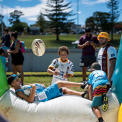 BRISBANE, AUSTRALIA - MARCH 18: A child plays during the NRL Development Junior Clinic and QRL training session at Ron Stark Oval on March 18, 2017 in Brisbane, Australia. (Photo by Patrick Kearney/Wynnum Manly Seagulls)