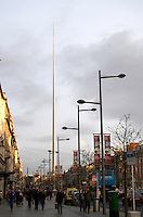 Evening light on The Spire in O'Connell Street in Dublin Ireland. Dublin's Monument of Light, The Spire is built on the former site of Nelson's Pillar and is 390ft high.